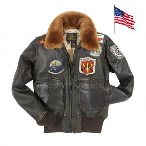 Blouson Aviatrice en cuir Top Gun NAVY G-1 Version Femme