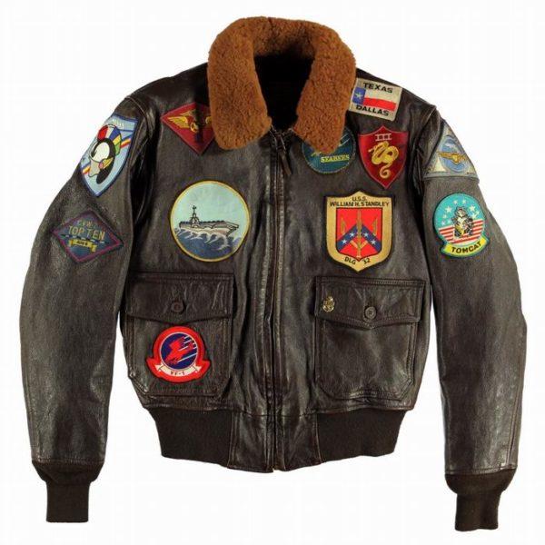 Blouson Aviateur en cuir NAVY G-1 porté par la star Tom Cruise dans le film TOP GUN.